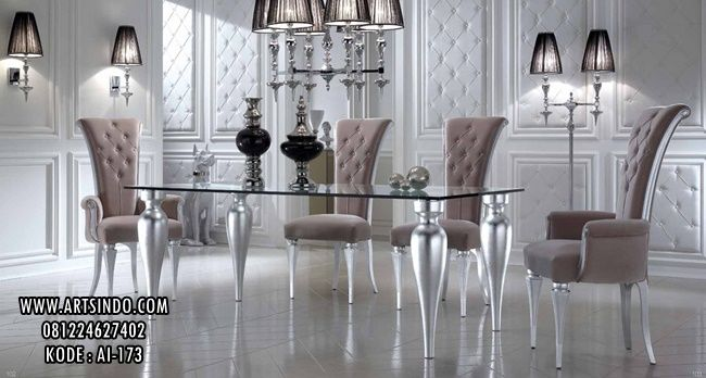 Set Kursi Makan Klasik + Meja Makan Top Kaca Tebal Bahan Kualitas Bagus Model Elegan Mewah Terbaru Buatan Asli Furniture Jepara Harga Minimalis 081224627402