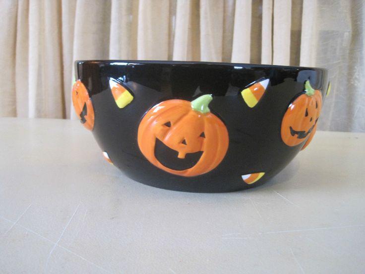 Happy Halloween Black Shiny Ceramic Large Bowl Pumpkins