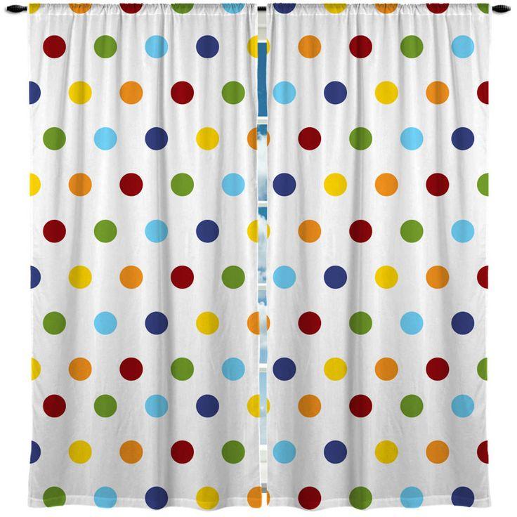 Rainbow Multi Color Polka Dots Window Curtain Colors