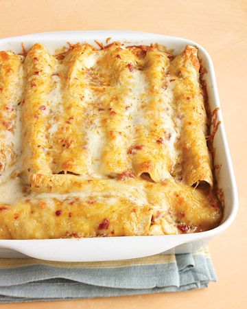 Lighter Chicken Enchiladas - The classic Mexican chicken enchilada recipe gets a