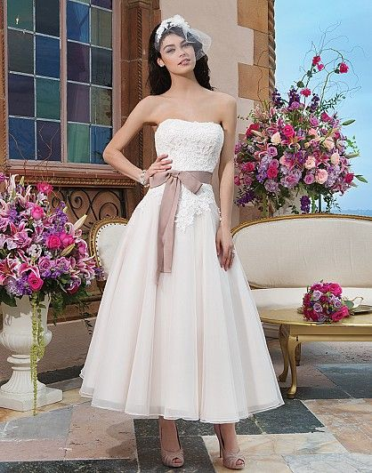 Style 3820: Tulle, cotton corded lace tea length ball gown accentuated with a strapless neckline | Sincerity Bridal