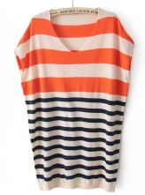 Orange Short Sleeve Striped Pullover Sweater
