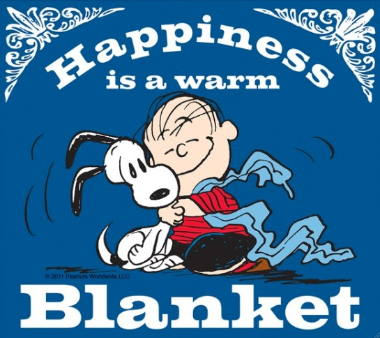Happiness is a warm blanket Snoopy CharlieBrown Happiness Peanuts