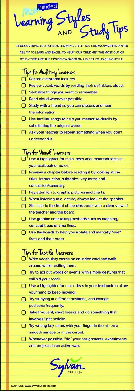 New Interesting Visual on Learning Styles and Study TipsAngela Watson's Teaching Ideas