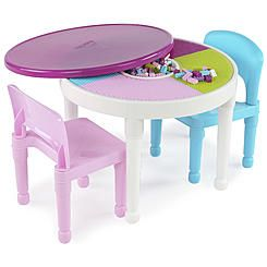 Kidsu0027 Durable And Easy To Clean, Colorful, Extreme 3 Piece Round Table And  Chair Set  Building Block Storage Area In Center Of Construction Table, ...