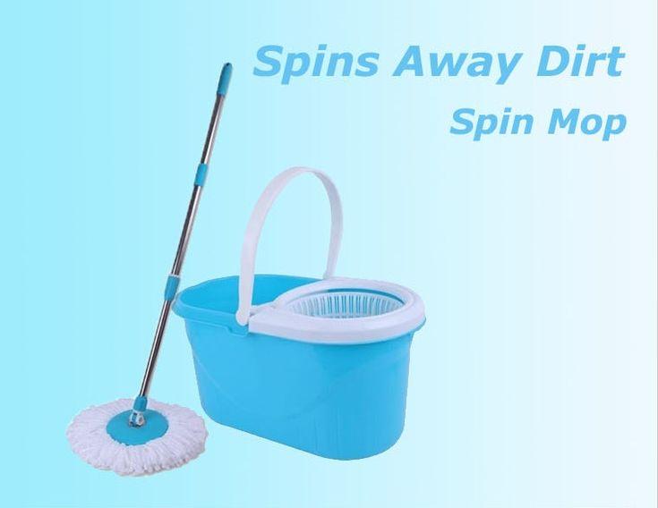 BARANG RUMAH: Spin Mop Magic Mop + Cleaner Bucket + 2 Mop Heads ...