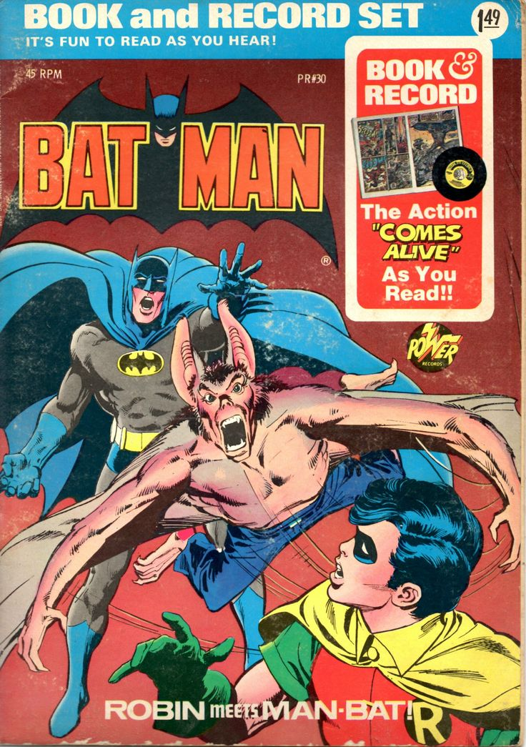 VIntage Bat Man Robin Meets Book And Record Set Comic Style Illustrated 45 RPM