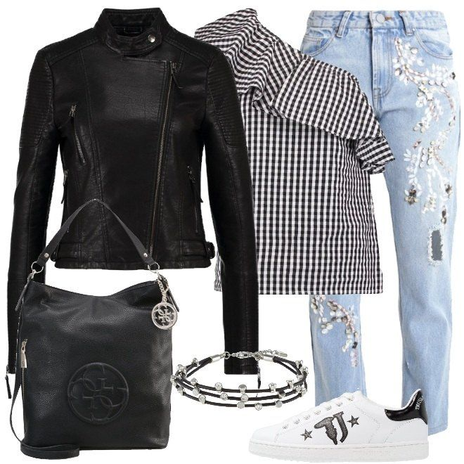 Outfit da ragazza ideale sia per un look da giorno che per una serata con gli amici. Il look è composto da giacca in ecopelle black con collo coreana, camicia a scacchi black and white e jeans baggy a vita alta light blue con applicazioni. Completo con una sneakers bassa white in pelle con punta tonda, shopping bag black con chiusura a cerniera e bracciale in metallo, pelle e vetro.