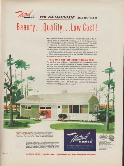 1953 national homes ad now air conditioned real estate for National house builders
