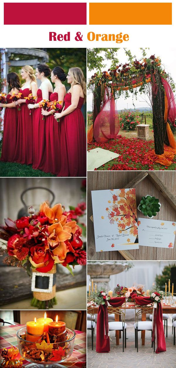 Six Clic Red Fall And Winter Wedding Color Palettes