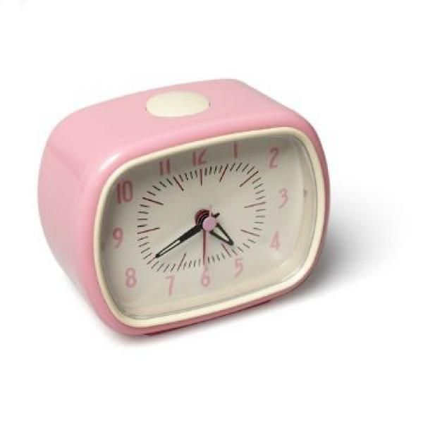 Baby pink retro alarm clock. Perfect accessory for a rosy room update. #interiors #bedroom