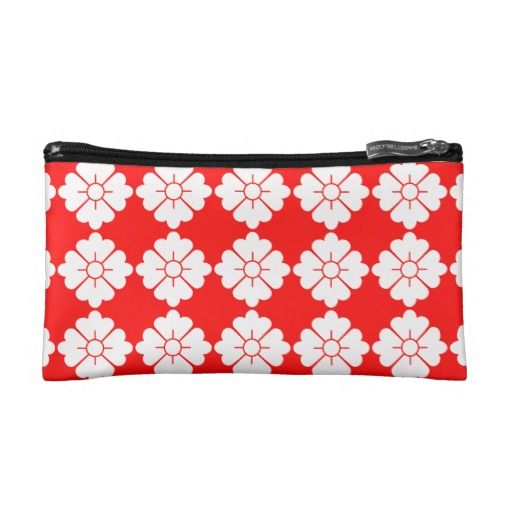 Customizable floral pattern purses / cosmetics bags - Customizable: The design (in white) is tileable (you can scale it up or down to customize it). The background (in red in the preview) can be changed to any color you like.