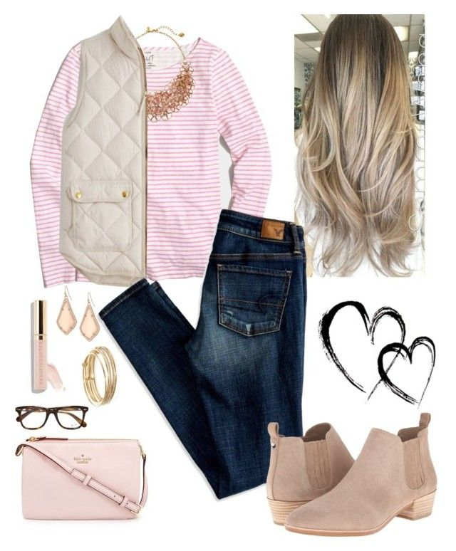 P I N K by labla534 on Polyvore featuring polyvore, fashion, style, J.Crew, American Eagle Outfitters, MICHAEL Michael Kors, Kate Spade, Kendra Scott, Ray-Ban and clothing