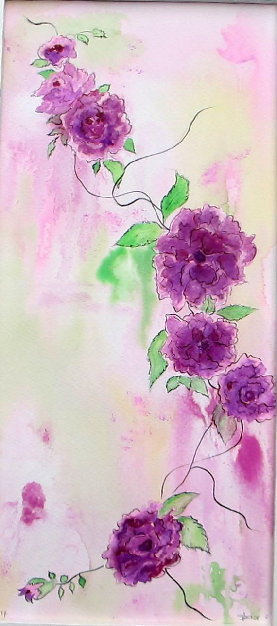 Beaux-arts Tableau 25/52 cm Roses du 8 mai