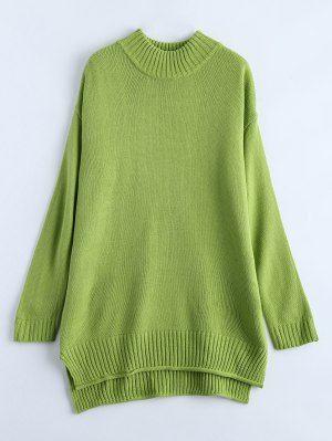 Cuello Redondo De Gran Tamaño Suéter - Verde