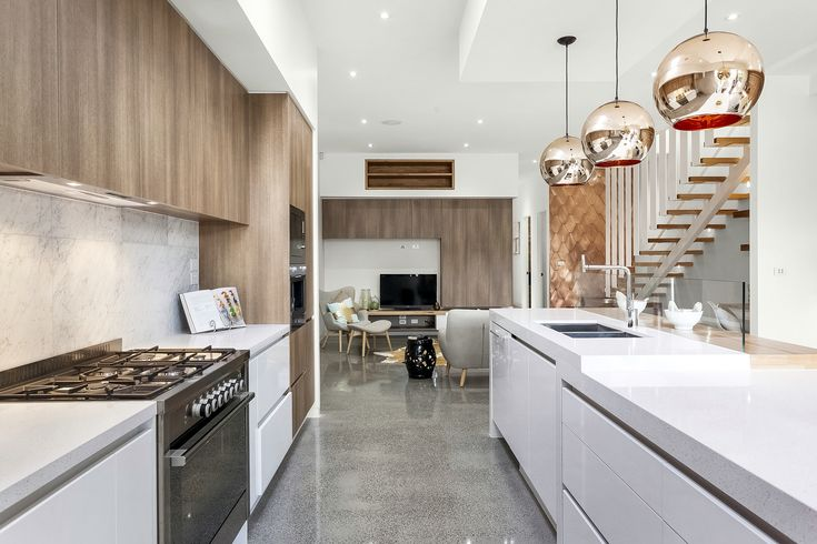 My new apartment/townhouses I just built at 4 Yorkshire st Pascoe Vale victoria, proudly designed and built by me! Modern rustic kitchen copper Tom Dixon pendant lights polished concrete floor marble Splashback timber and caesarstone Benchtop copper internal feature wall glass Splashback  photography taken by Ray White Brunswick