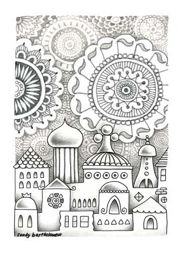 Zentangle pictures might build upon study of architectural forms and facades (onion domes, arches, minaret towers, etc.) of various cultures or geographies, and combine these as patterned forms for a zentangle composition. Students may be directed to focus on one architectural tradition - (such as Islamic, Russian, Italian Renaissance, or Victorian houses) - or combine many styles.