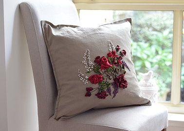Silk & satin embroidered linen pillowcase. http://caffeinatedkitten.wix.com/crafts