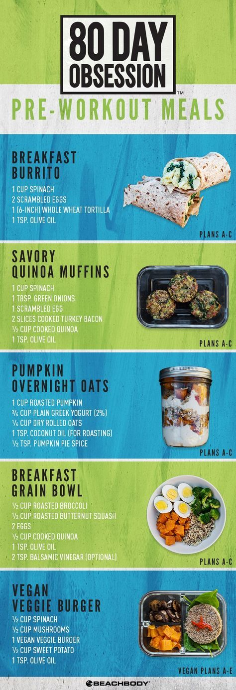 Pre-Workout Meals for 80-Day Obsession include a breakfast burrito, savory quinoa muffins, pumpkin overnight oats, breakfast grain bowl, and vegan veggie burger. meal prep // meal planning // 80 Day Obsession // Autumn Calabrese // how to lose weight fast // diet and nutrition // Beachbody // Beachbody Blog // #mealplanning #mealprep #healthymealprep #80dayobsession #AutumnCalabrese