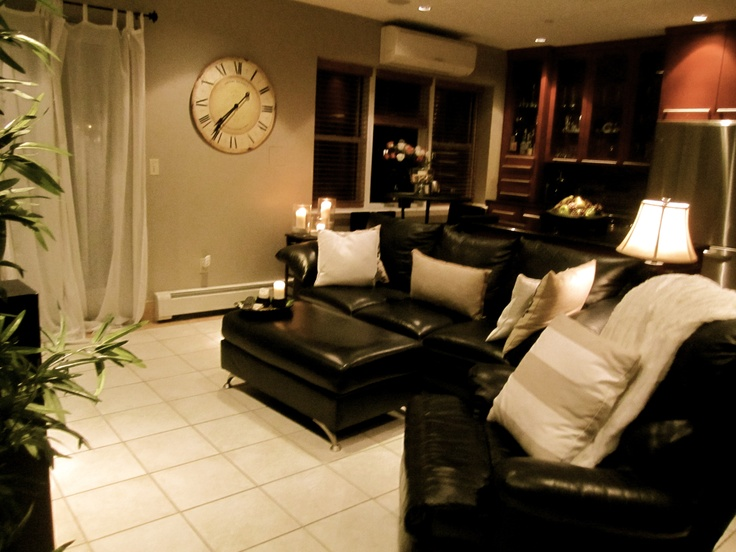 Living Room Decor With Black Leather Sofa