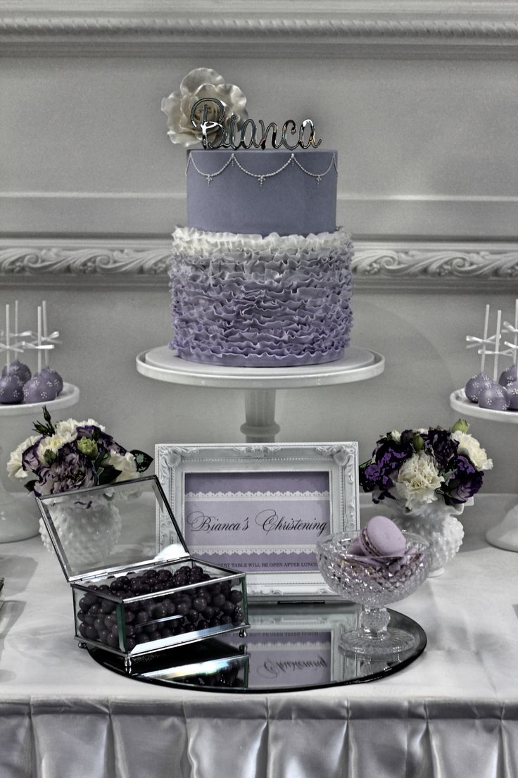 Our elegant purple themed Christening, gorgeous cake, candy and dessert buffet