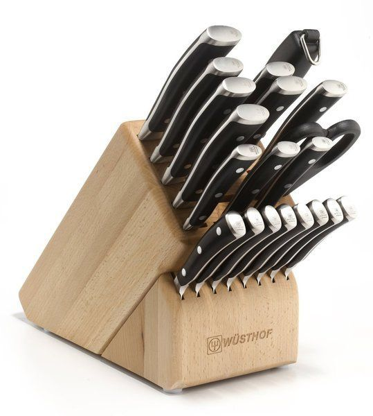 You will have every knife you would ever need with the wusthof classic ikon 22-piece knife set. The set includes 3-1/2-Inch paring knife, 4-1/2-Inch utility, a 6-Inch utility for slicing, 8-Inch bread knife, a 6 and 8-Inch cooks knife for chopping and mincing, eight steak knives, 5-Inch serrated, 5-Inch boning, 5 and 7-Inch santoku, 8-Inch granton carver a come apart shears, a 10-Inch honing steel and a 22 slot storage block. The set makes a lasting and meaningful gift for newlyweds and…