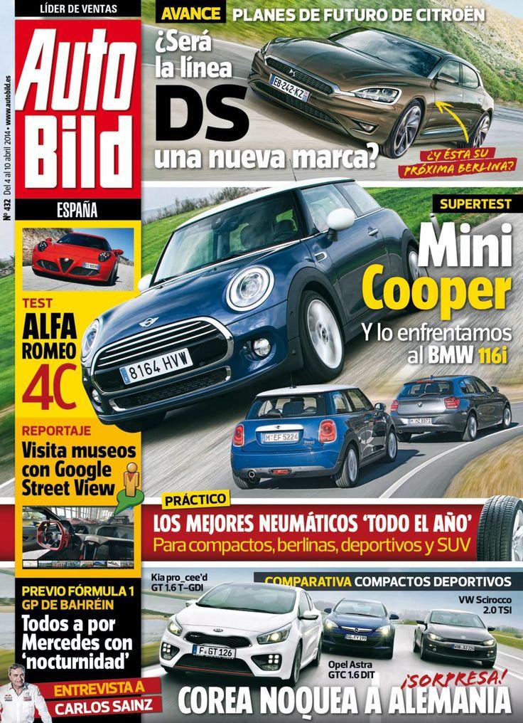Revista #Autobild España 432. #Mini Cooper. #AlfaRomeo 4C. Los mejores #neumáticos del año.