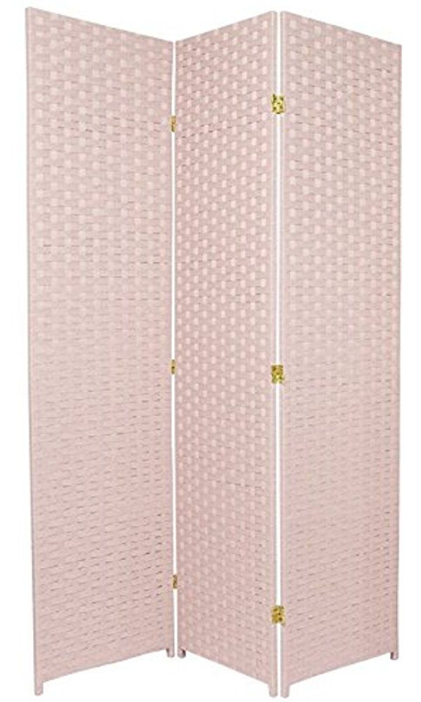 Oriental Furniture Femine Decor Privacy Screen, 6-Feet Tall Woven Fiber Room Divider, Special Edition, Pink Best Price