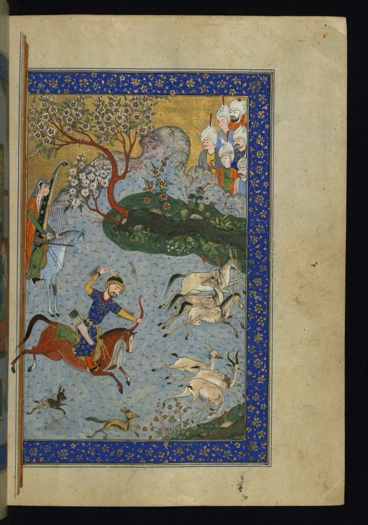 Heşt bihişt - This is the right side of a double-page illustrated frontispiece depicting Bahrām Gūr hunting deer while Fitnah plays the harp.