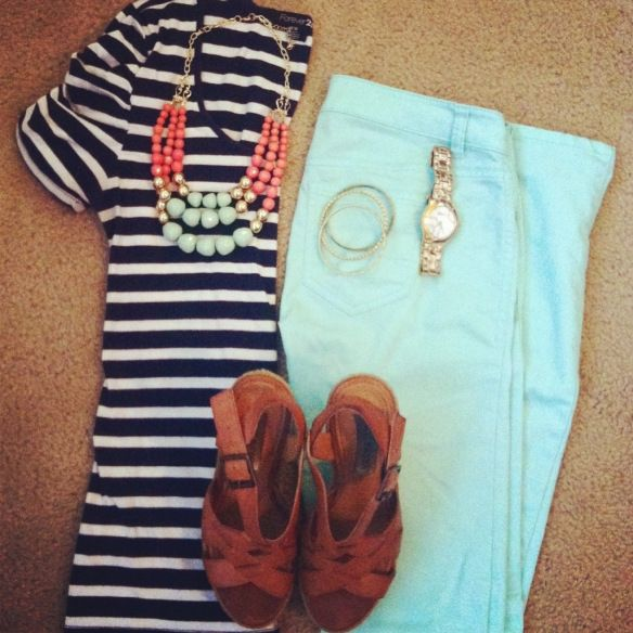 What I wore | outfit layout | ootd | teacher clothes | teacher style | stripes | skinny jeans | statement necklace | frugal style