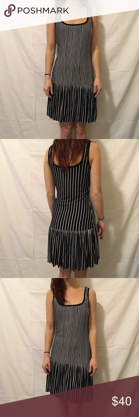 Bailey 44 Vertical Striped Sleeveless Dress Bailey 44 striped dress that is Sleeveless and is white and black and is above knee length! In new condition worn once! Bailey 44 Dresses Midi