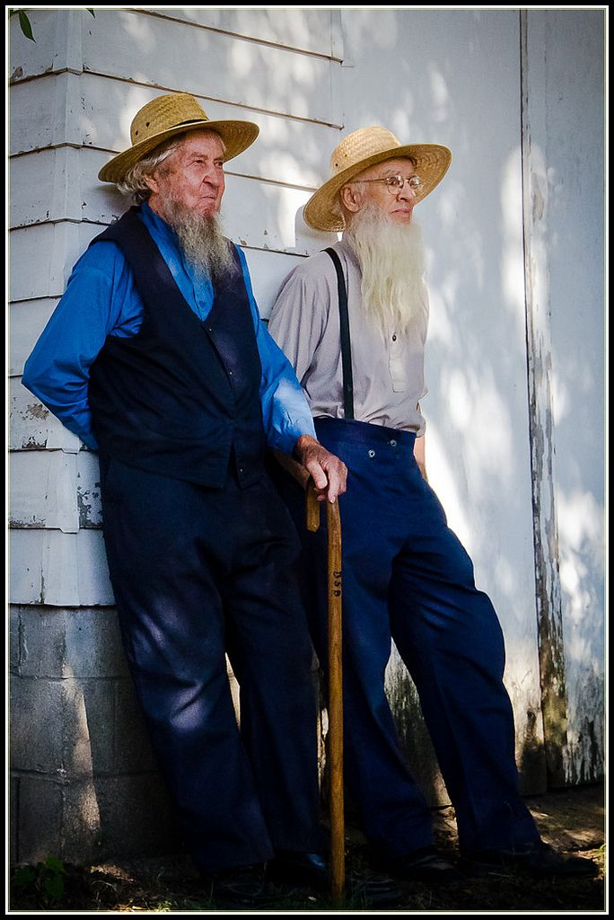 Amish men at sale, Sturgeon, Missouri