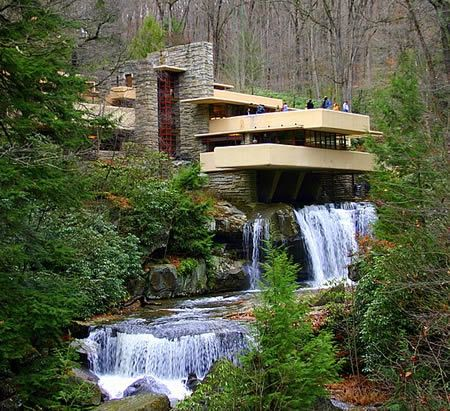 the Falling Water, in Pennsylvania USA, this was built partly over a waterfall