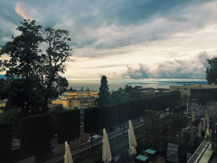 Hot & Chilli : where to stay and eat in Lausanne, Switzerland. evening view over Lake Geneva from Lausanne Palace Hotel, it was June  the wettest  month of the year in the lake....