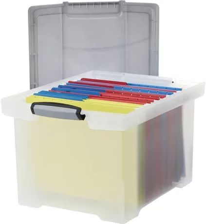 Storex Letter/Legal File Tote With Locking Handle, Clear/Silver for sale at Walmart Canada. Get Office & Stationery online at everyday low prices at Walmart.ca