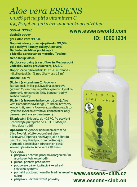#Essens #Aloe vera -  99,5% gel na pití. Aloe přispívá k celkové fyzické pohodě. - Aloe vera gel #drink - Aloe Vera has been used for its #healing properties and #health  - www.essensworld.com - Essens ID-10001234