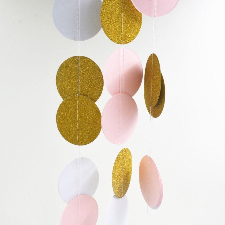 5センチ* 2メートルピンクホワイトゴールドホオジロ吊り花輪バレンタイン誕生日パーティー結婚式のシャワールーム装飾紙ラウンドサークルストリング