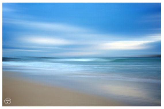 Abstract Beach Photography, Blue Clouds Waves Beach Print, Home Decor Beach Print, Abstract Beach Print, Abstract Wave, Blue, Grey, Sand – Kristine