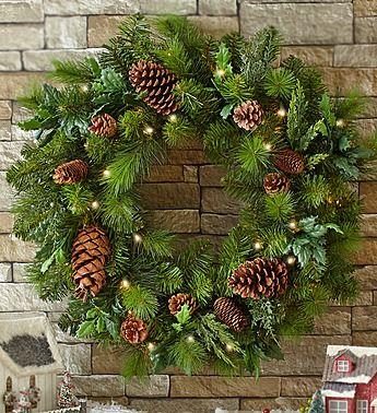 Pre-lit Faux Pinecone Wreath