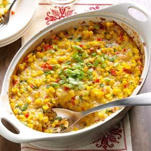 New Orleans-Style Scalloped Corn Recipe- Recipes  This colorful casserole is popular for family gatherings in many New Orleans homes. I started making it years ago, and now our grown sons include it on their own menus.—Mrs. Priscilla Gilbert, Indian Harbour Beach, Florida