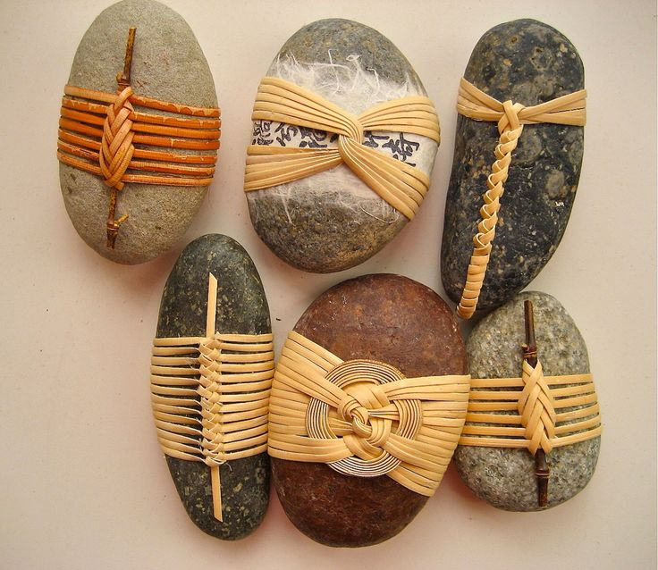 Cane wrapped rocks, Japanese basketry knots By Basketeer