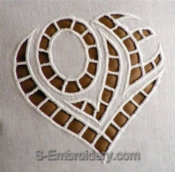 Cutwork Lace Heart Embroidery design - close-up image