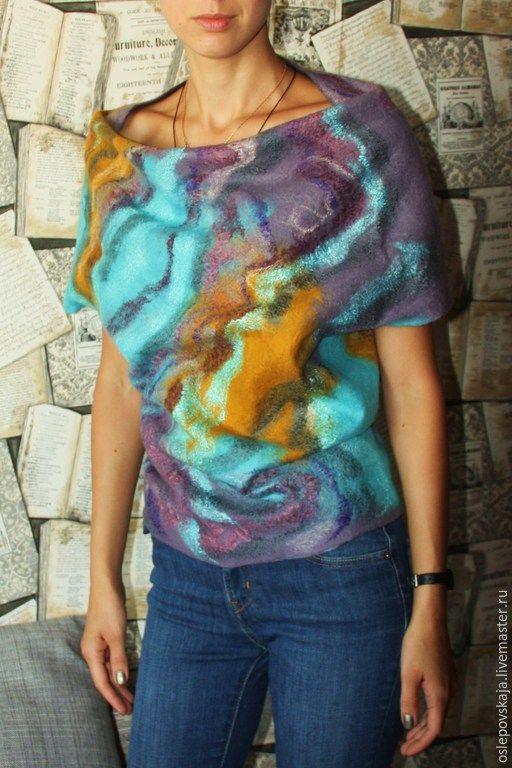 Купить Валяная туника Бухта Балаклавы - сиреневый, абстрактный, фелтинг, войлок, валяный свитер, хитон