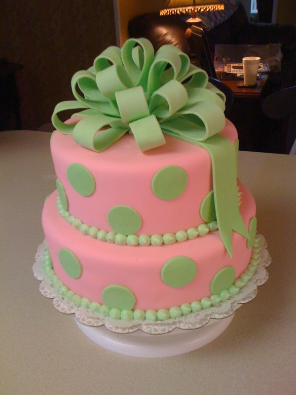 Pink and green baby shower cake