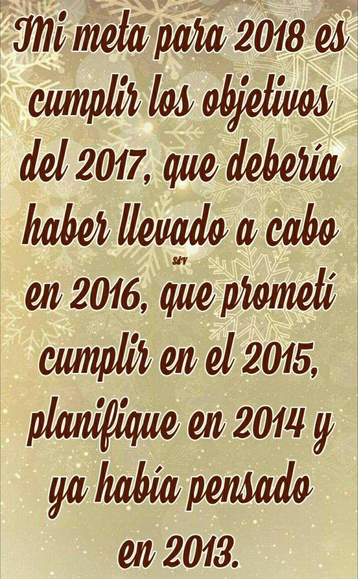 Mi meta para 2018 es cumplir los objetivos del 2017, que debería haber llevado a cabo en 2016, que prometí cumplir en el 2015, planifique en 2014 y ya había pensado en 2013.