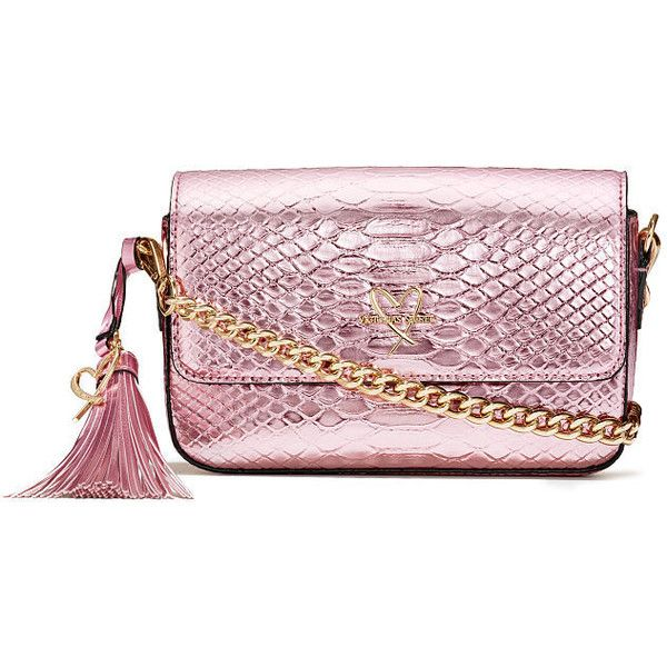 Luxe Python Downtown Crossbody ($100) ❤ liked on Polyvore featuring bags, handbags, shoulder bags, victoria secret shoulder bags, pink cross body purse, victoria secret handbag, cross body and pink shoulder bag