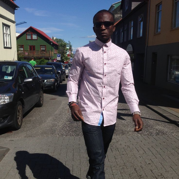 @togola crushing the streets of Reykjavik in his Jomar printed shirt