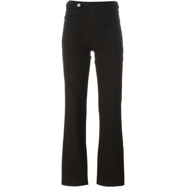 See By Chloé Bootcut Jeans ($103) ❤ liked on Polyvore featuring jeans, highwaist jeans, bootcut jeans, see by chloe jeans, patch pocket jeans and high rise bootcut jeans