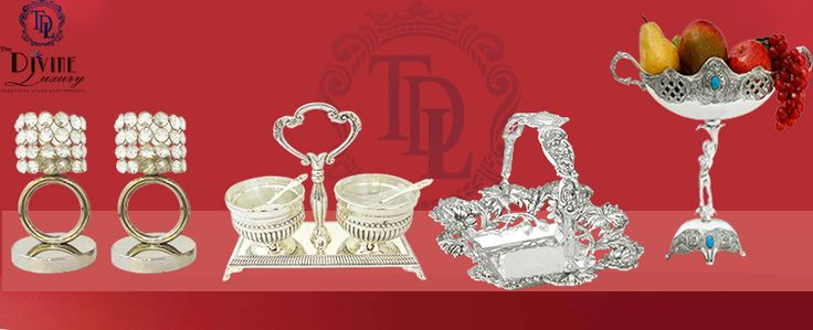 The Divine Luxury is a place where you can buy a wide collection of silver plated products designed in an artistic ways.Be it a wedding is a ceremony which ties up two persons into a single thread and it's a new beginning or journey of their life, birthday, anniversary, or Diwali, add a new meaning to life with The Divine Luxury. For festival giveaways to private parties, we have a wide range of collections to please your loved ones.