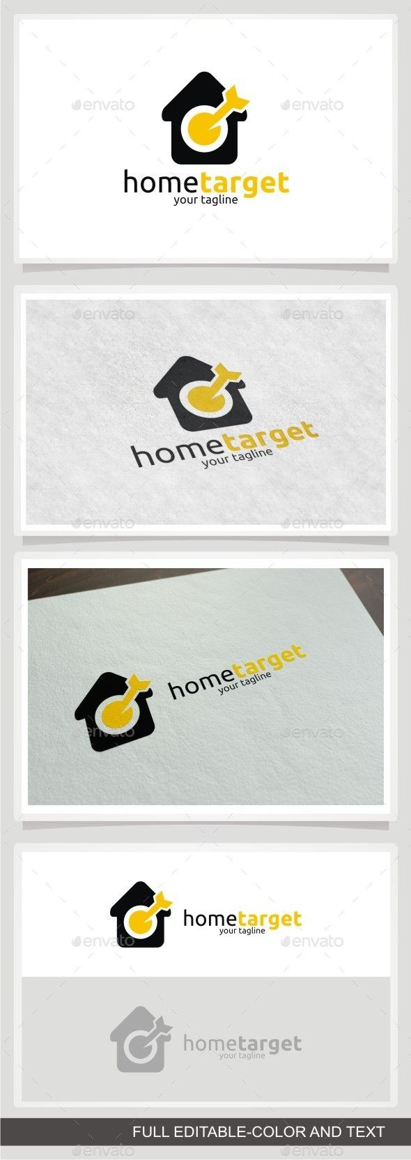 Home Target Logo by sosaenol Easy to edit to your own company name with vector for highly resizable and printing. Suitable for industry like Real Estate and Co